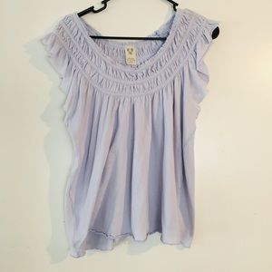 We The Free Top Rayon Smocked Flutter Sleeve Sz S
